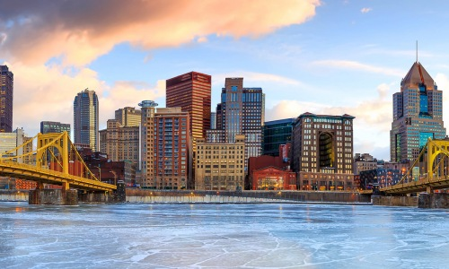 Skyline view of downtown Pittsburgh, PA
